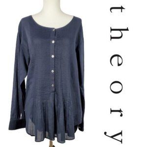 Theory Black Button Front Pleat Blouse  A9-25